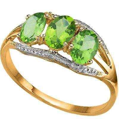 ASTONISHING 1.29 CARAT TW (5 PCS) PERIDOT & GENUINE DIAMOND 10K SOLID YELLOW GOLD RING wholesalekings wholesale silver jewelry