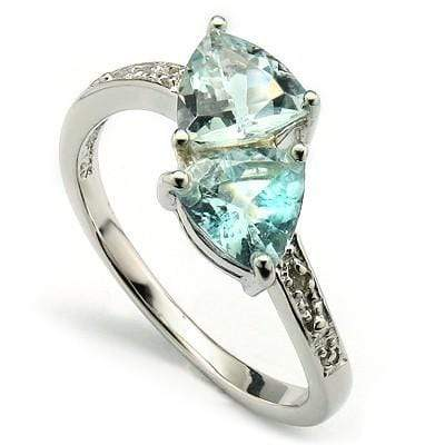 ASTONISHING 1.35 CT AQUAMARINE & 2 PCS WHITE DIAMOND PLATINUM OVER 0.925 STERLING SILVER RING wholesalekings wholesale silver jewelry