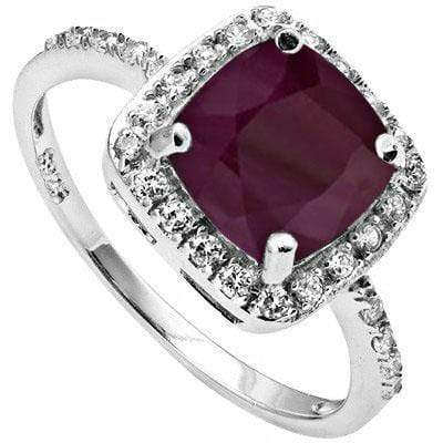 ASTONISHING 1.63 CARAT GENUINE RUBY & CUBIC ZIRCONIA PLATINUM OVER 0.925 STERLING SILVER RING - Wholesalekings.com