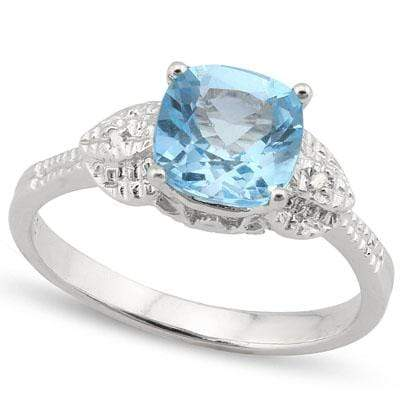 ASTONISHING 1.72 CARAT TW  BLUE TOPAZ & GENUINE DIAMOND PLATINUM OVER 0.925 STERLING SILVER RING - Wholesalekings.com