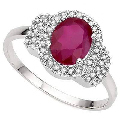 ASTONISHING 1.93 CT GENUINE RUBY & 46 PCS GENUINE DIAMOND 10K SOLID WHITE GOLD R - Wholesalekings.com