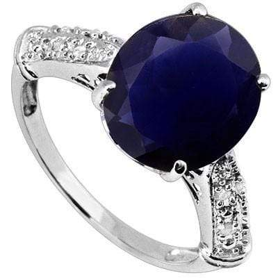 ASTONISHING 3.11 CT IOLITE & 8 PCS WHITE DIAMOND 10K SOLID WHITE GOLD RING wholesalekings wholesale silver jewelry
