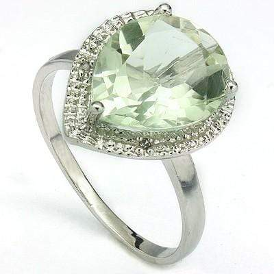 ASTONISHING 3.63 CT GREEN AMETHYST & 2 PCS WHITE DIAMOND PLATINUM OVER 0.925 STERLING SILVER RING - Wholesalekings.com