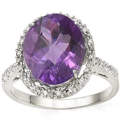 ASTONISHING 4.07 CT AMETHYST & 2 PCS WHITE DIAMOND 0.925 STERLING SILVER W/ PLATINUM RING - Wholesalekings.com
