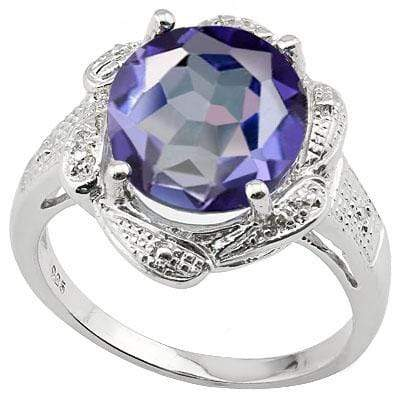 ASTONISHING 4.09 CT VIOLET MYSTIC GEMSTONE & 2PCS GENUINE DIAMOND PLATINUM OVER 0.925 STERLING SILVER RING - Wholesalekings.com