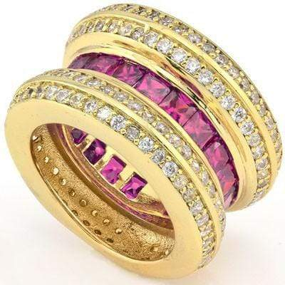 ASTONISHING 5.40 CT CREATED PINK SAPPHIRE & 160 PCS CREATED WHITE SAPPHIRE 18K YELLOW GOLD OVER STERLING SILVER RING - Wholesalekings.com