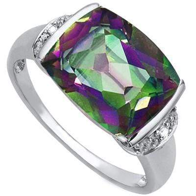 ASTONISHING 6.10 CT MYSTIC GEMSTONE & 2 PCS GENUINE DIAMOND 0.925 STERLING SILVER W/ PLATINUM RING - Wholesalekings.com