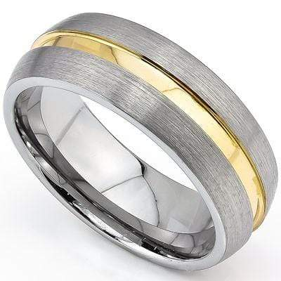 ASTONISHING DOME GOLD INLAY BRUSH FINISH CARBIDE TUNGSTEN RING wholesalekings wholesale silver jewelry