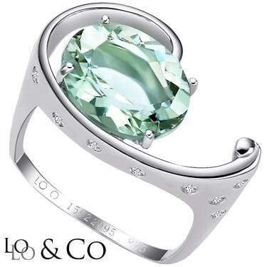 ASTONISHING LOLO & CO 4.49 CARAT TW TIDE GREEN AMETHYST & GENUINE DIAMOND PLATINUM OVER 0.925 STERLING SILVER RING wholesalekings wholesale silver jewelry