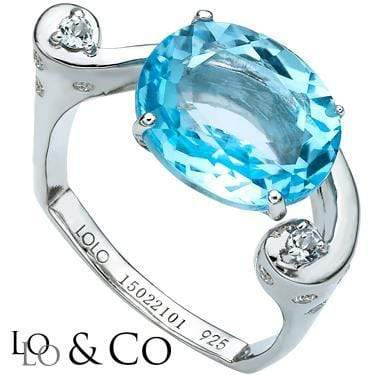 ASTONISHING LOLO & CO  6.9 CARAT TW (8 PCS) FROST BLUE TOPAZ & GENUINE DIAMOND PLATINUM OVER 0.925 STERLING SILVER RING - Wholesalekings.com