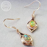 AUSTRALIAN FIRE OPAL & CREATED WHITE SAPPHIRE 0.60 CT AUSTRALIAN FIRE OPAL 925 STERLING SILVER EARRINGS - Wholesalekings.com