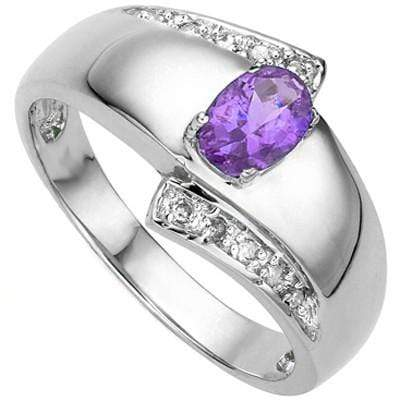 AWESOME 0.25 CT AMETHYST & 10 PCS WHITE DIAMOND 0.925 STERLING SILVER W/ PLATINUM  RING wholesalekings wholesale silver jewelry