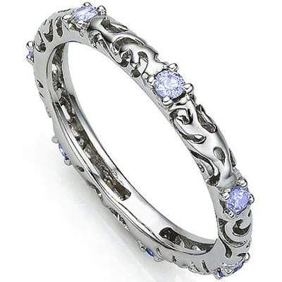 AWESOME 0.27 CARAT TW (7 PCS) GENUINE TANZANITE PLATINUM OVER 0.925 STERLING SILVER RING wholesalekings wholesale silver jewelry