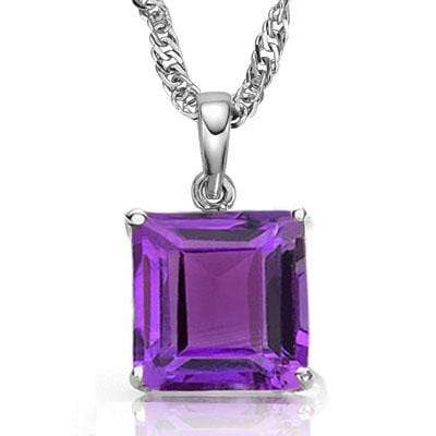 AWESOME 0.5 CARAT TW (1 PCS) AMETHYST 10K SOLID WHITE GOLD PENDANT wholesalekings wholesale silver jewelry