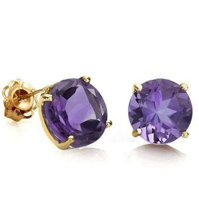 AWESOME 0.9 CARAT TW (2 PCS) AMETHYST 10K SOLID YELLOW GOLD EARRINGS - Wholesalekings.com