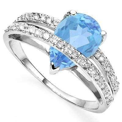 AWESOME 1.57 CT BLUE TOPAZ & 4 PCS WHITE DIAMOND 0.925 STERLING SILVER W/ PLATINUM RING wholesalekings wholesale silver jewelry