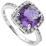 AWESOME 1.78 CARAT TW AMETHYST & CUBIC ZIRCONIA PLATINUM OVER 0.925 STERLING SILVER RING - Wholesalekings.com