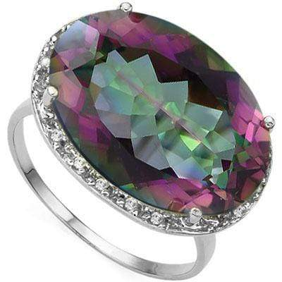 AWESOME 12.46 CARAT MYSTIC GEMSTONE & GENUINE DIAMOND PLATINUM OVER 0.925 STERLING SILVER RING - Wholesalekings.com