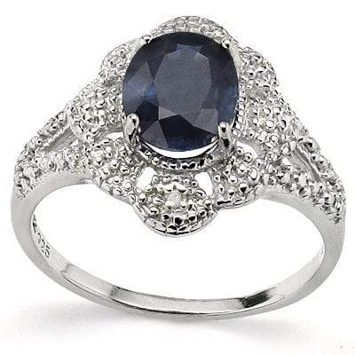 AWESOME 2.15 CT GENUINE BLACK SAPPHIRE & 2 PCS WHITE DIAMOND PLATINUM OVER 0.925 STERLING SILVER RING - Wholesalekings.com