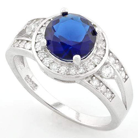AWESOME !  2 CARAT CREATED BLUE SAPPHIRE &  1/3 CARAT (34 PCS) FLAWLESS CREATED DIAMOND 925 STERLING SILVER HALO RING - Wholesalekings.com