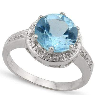 AWESOME 3.268 CARAT TW  BLUE TOPAZ & GENUINE DIAMOND PLATINUM OVER 0.925 STERLING SILVER RING - Wholesalekings.com