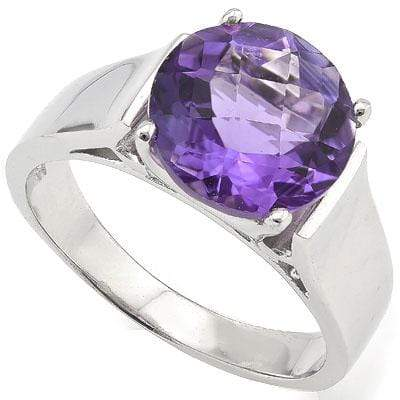 AWESOME 3.54 CT AMETHYST PLATINUM OVER 0.925 STERLING SILVER RING - Wholesalekings.com