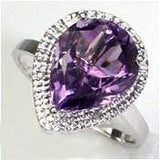 AWESOME 3.96 CT AMETHYST & 2 PCS WHITE DIAMOND PLATINUM OVER 0.925 STERLING SILVER RING wholesalekings wholesale silver jewelry