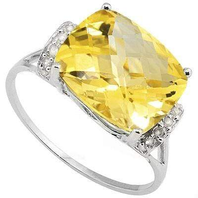 AWESOME 5.00 CT CITRINE & 2PCS GENUINE DIAMOND PLATINUM OVER 0.925 STERLING SILVER RING - Wholesalekings.com
