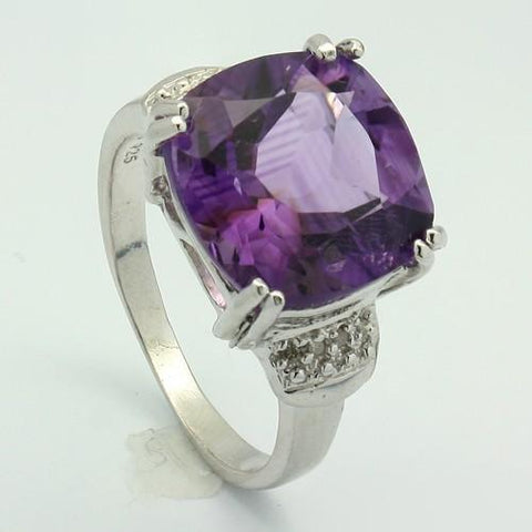 AWESOME 7.00 CT AMETHYST & 8 PCS WHITE DIAMOND PLATINUM OVER 0.925 STERLING SILVER RING - Wholesalekings.com