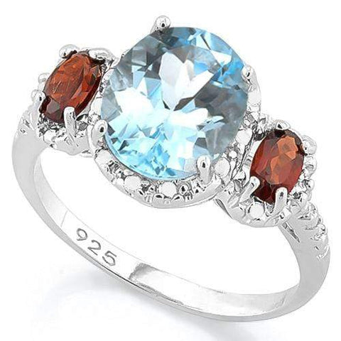 BABY SWISS BLUE TOPAZ & 2/3 CT GARNET 925 STERLING SILVER RING - Wholesalekings.com