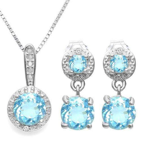 BABY SWISS BLUE TOPAZ  925 STERLING SILVER JEWELRY SET - Wholesalekings.com