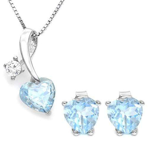 BABY SWISS BLUE TOPAZ 925 STERLING SILVER SET - Wholesalekings.com