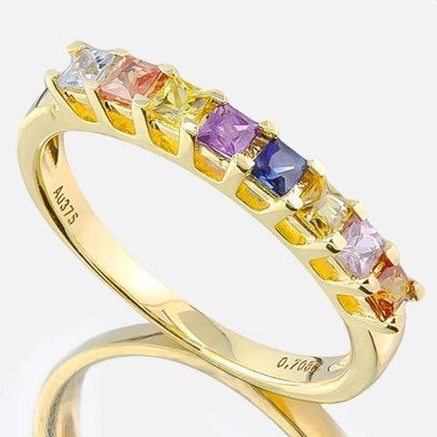 BEAUTEOUS ! 2/3 CARAT (8 PCS) MULTI COLOR SAPPHIRE (VS) 9KT SOLID GOLD BAND RING wholesalekings wholesale silver jewelry