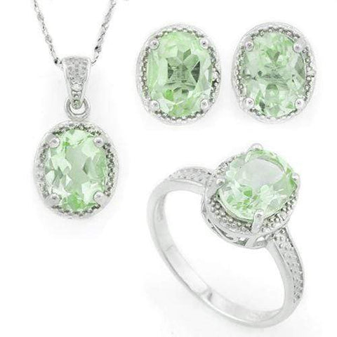 BEAUTEOUS ! 6 2/5 CARAT GREEN AMETHYST & DIAMOND 925 STERLING SILVER SET - Wholesalekings.com