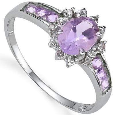 BEAUTIFUL 0.80 CT AMETHYST & 6 PCS AMETHYST 0.925 STERLING SILVER W/ PLATINUM  RING wholesalekings wholesale silver jewelry