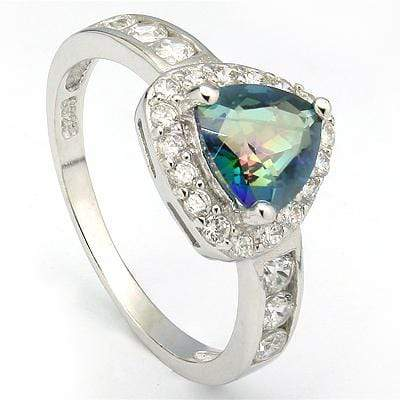 BEAUTIFUL 1.00 CT GREEN MYSTIC GEMSTONE & 6 PCS CREATED WHITE SAPPHIRE PLATINUM OVER 0.925 STERLING SILVER RING - Wholesalekings.com