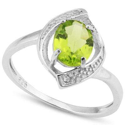 BEAUTIFUL 1.212 CARAT TW  PERIDOT & GENUINE DIAMOND PLATINUM OVER 0.925 STERLING SILVER RING - Wholesalekings.com