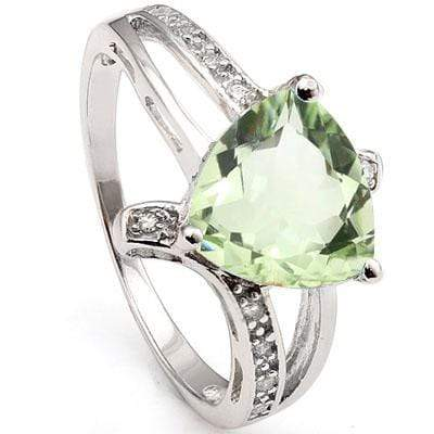 BEAUTIFUL 1.8 CARAT TW GREEN AMETHYST & CREATED WHITE SAPHHIRE PLATINUM OVER 0.925 STERLING SILVER RING - Wholesalekings.com