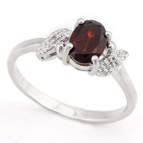 BEAUTIFUL ! 1 CARAT GARNET & DIAMOND 925 STERLING SILVER RING wholesalekings wholesale silver jewelry