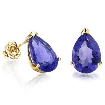 BEAUTIFUL 1 CARAT TW (2 PCS) LAB TANZANITE 10K SOLID YELLOW GOLD EARRINGS - Wholesalekings.com
