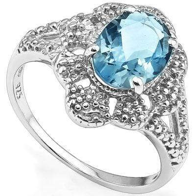 BEAUTIFUL 2.20 CT BLUE TOPAZ & 2 PCS WHITE DIAMOND PLATINUM OVER 0.925 STERLING SILVER RING - Wholesalekings.com