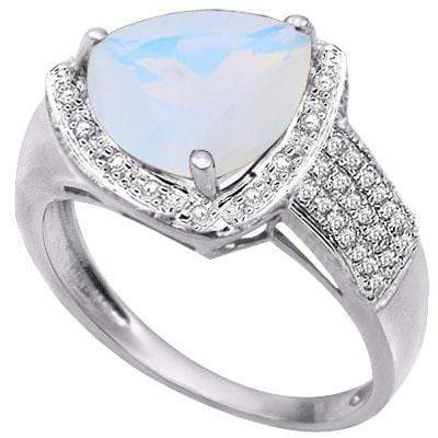 BEAUTIFUL 2.91 CARAT  CREATED FIRE OPAL & GENUINE DIAMOND PLATINUM OVER 0.925 STERLING SILVER RING - Wholesalekings.com