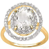 BEAUTIFUL 3.51 CARAT TW (19 PCS) WHITE TOPAZ & GENUINE DIAMOND 14K SOLID YELLOW - Wholesalekings.com