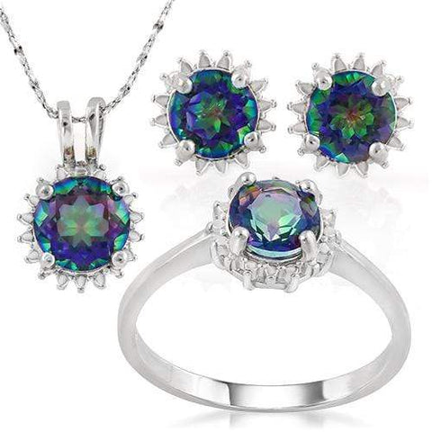 BEAUTIFUL !  3.80 CARAT OCEAN MYSTIC GEMSTONE 925 STERLING SILVER SET - Wholesalekings.com