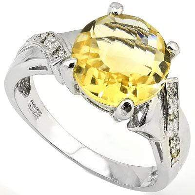 BEAUTIFUL 3.89 CT CITRINE 0.925 STERLING SILVER W/ PLATINUM RING - Wholesalekings.com