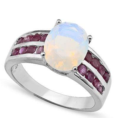 BEAUTIFUL 4.00 CT CREATED FIRE OPAL & 16 PCS GENUINE RUBY 0.925 STERLING SILVER W/ PLATINUM RING wholesalekings wholesale silver jewelry