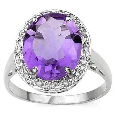BEAUTIFUL ! 4 1/4 CARAT AMETHYST & DIAMOND 925 STERLING SILVER RING wholesalekings wholesale silver jewelry