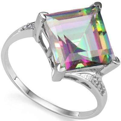 BEAUTIFUL 5.13 CT MYSTIC GEMSTONE & 2 PCS WHITE DIAMOND PLATINUM OVER 0.925 STERLING SILVER RING wholesalekings wholesale silver jewelry