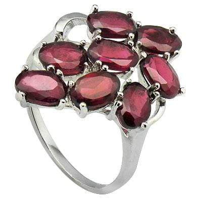 BEAUTIFUL 5.39 CT GARNET PLATINUM OVER 0.925 STERLING SILVER RING - Wholesalekings.com