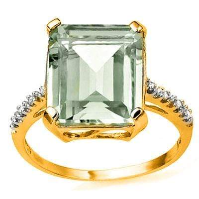 BEAUTIFUL 5.42 CARAT TW (9 PCS) GREEN AMETHYST  GENUINE DIAMOND 10K SOLID YELLOW - Wholesalekings.com